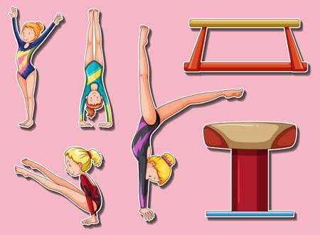 bar: Sticker design for gymnastic players and bars illustration Illustration