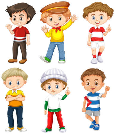 Six boys with happy face illustration Ilustração