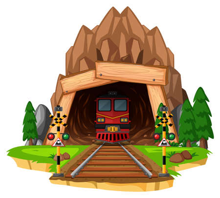 Train ride on the track through tunnel illustration