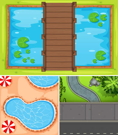 Top view of pond and road illustration. Illustration