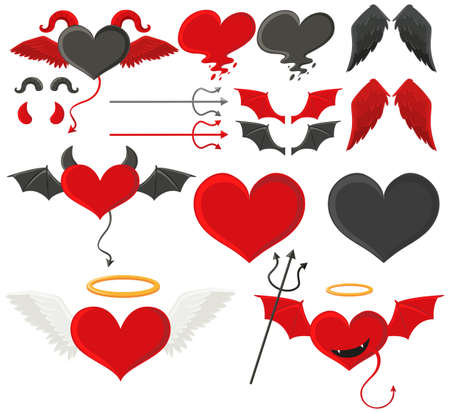 Black and red hearts with wings illustration. Illustration