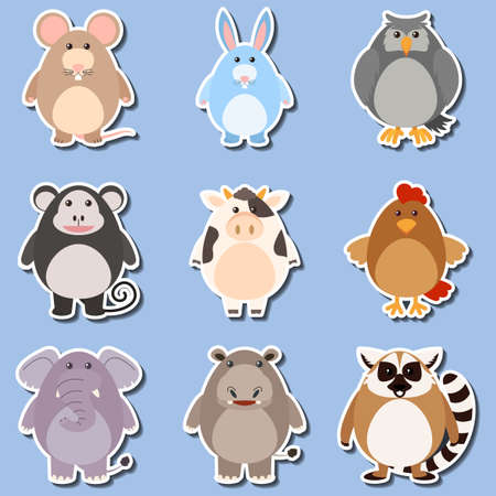 Sticker design for different types of animals illustration