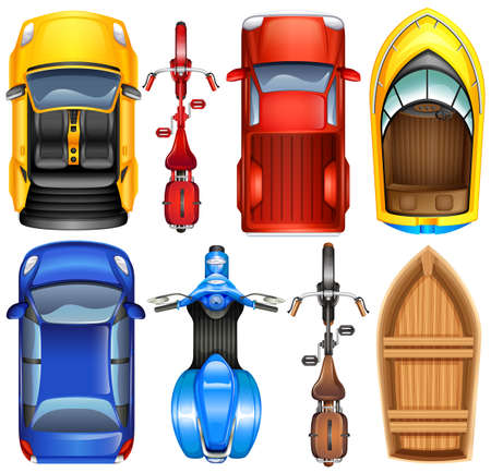 lorry: Top view of different transportation illustration.