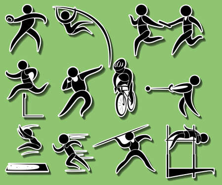 Sport icons for different types of track and field events illustration. Çizim