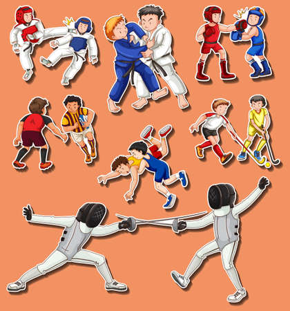 People doing different martial arts illustration