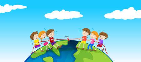 Children playing tug of war on earth illustration.