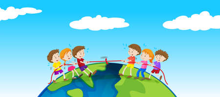 Children playing tug of war on earth illustration.
