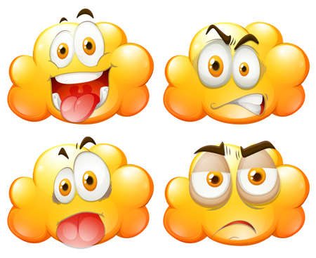 Yellow clouds with facial expressions illustration