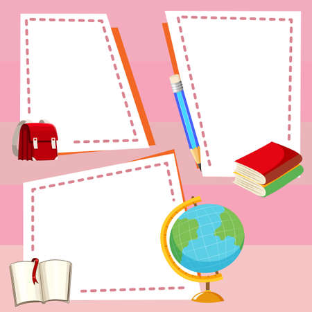 Border template with different stationeries illustration