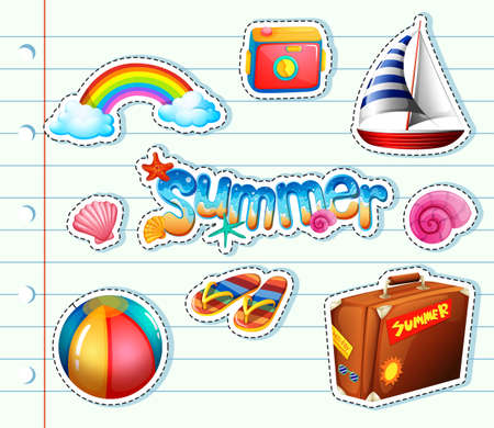Sticker set for summer items illustration