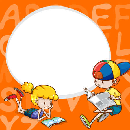 Border template with two kids reading books illustration