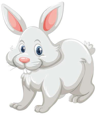 Cute rabbit with white fur illustration