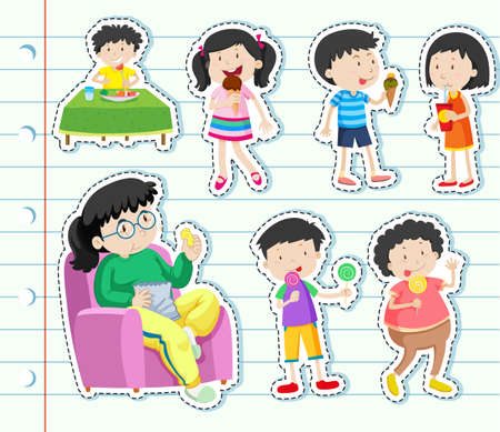 Sticker design with many kids eating sweets illustration.