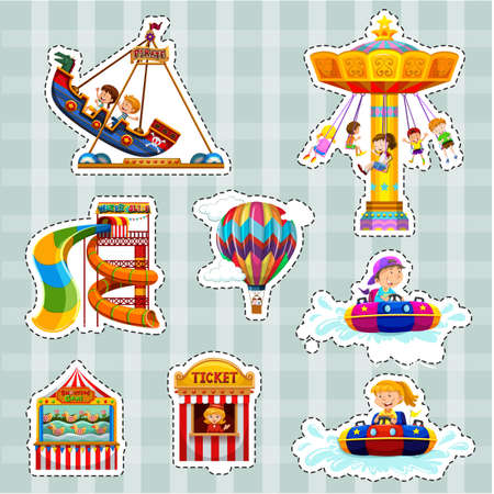 Sticker set for kids playing on rides illustration