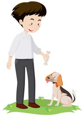 Man giving bone to dog illustration.
