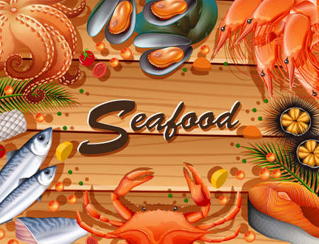 Different types of seafood on board illustration.