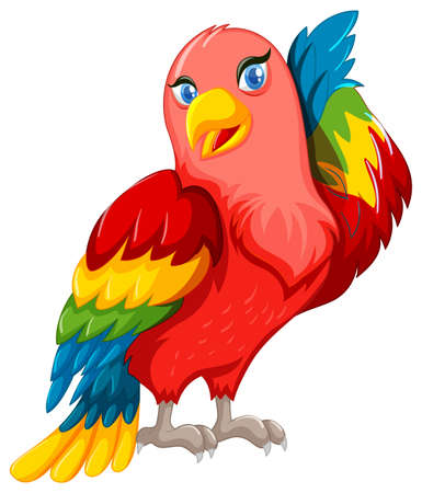 Beautiful parrot with colorful wings illustration.