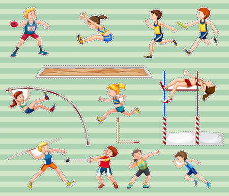 lanzamiento de disco: Sticker set for track and field sports illustration. Vectores