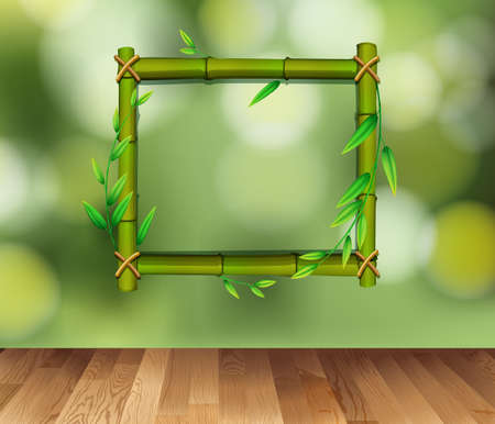 Bamboo frame on green background illustration.