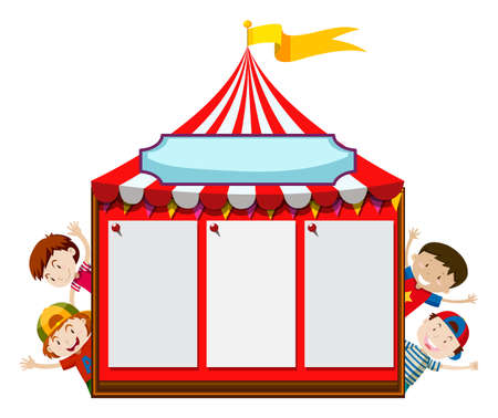 Board template with kids and tent illustration. Illustration