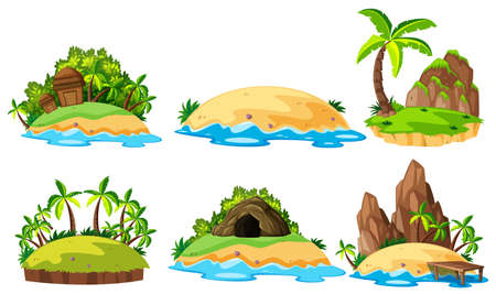 Six views of islands on white background illustration. Illustration