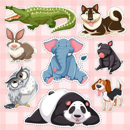 Sticker set for wild animals on pink background illustration.