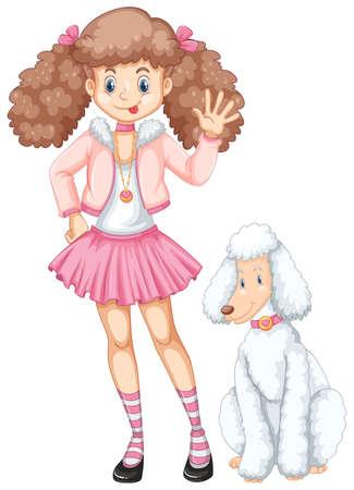 Cute teenage girl and poodle dog illustration.