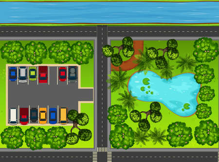 Park view from the top with pond and car park illustration.
