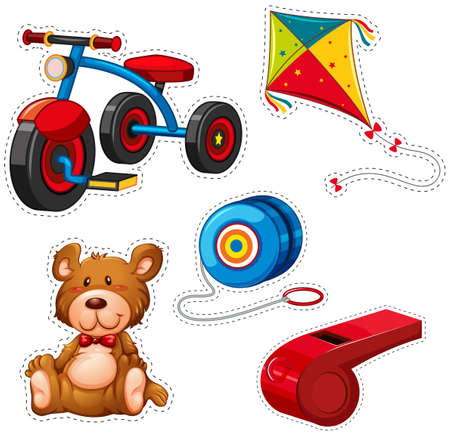 Sticker design with tricycle and other toys illustration. Illustration