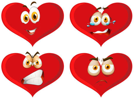 Red hearts with facial expressions illustration.