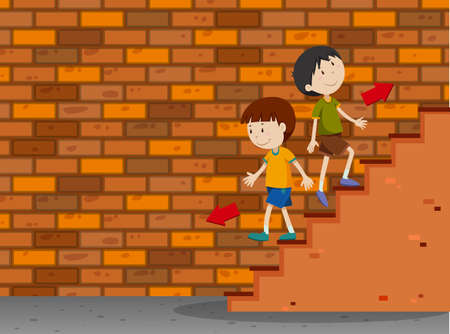 Boys walking up and down the stairs illustration. Illustration