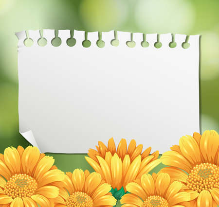 Border template with yellow flowers in garden illustration.
