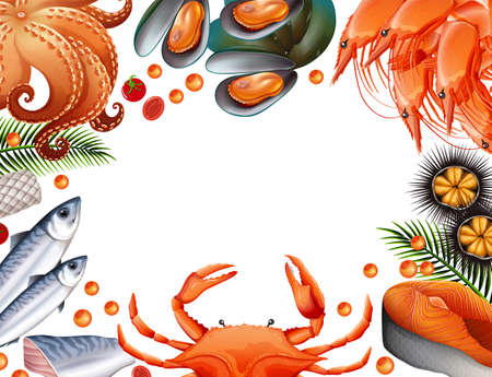 Border template with different kinds of seafood illustration.