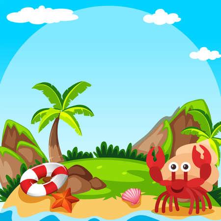 Background scene with hermit crab on island illustration.