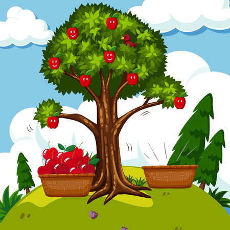 Red apple tree in the field illustration.