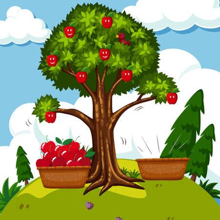 rouge pommier dans le domaine illustration