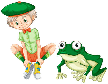 Cute boy and green frog illustration.