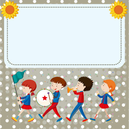 Border template with kids in the band illustration. Vectores