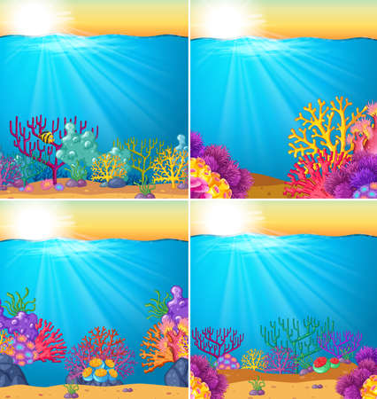 Background scene with coral reef underwater illustration.