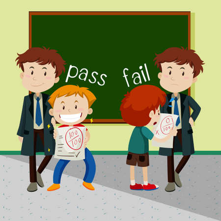 Opposite words for pass and fail illustration. Illustration