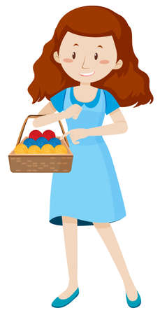Woman with basket full of yarns illustration.