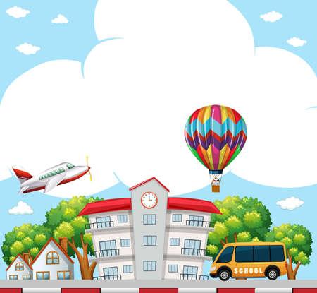 Background scene with school in neighborhood illustration.