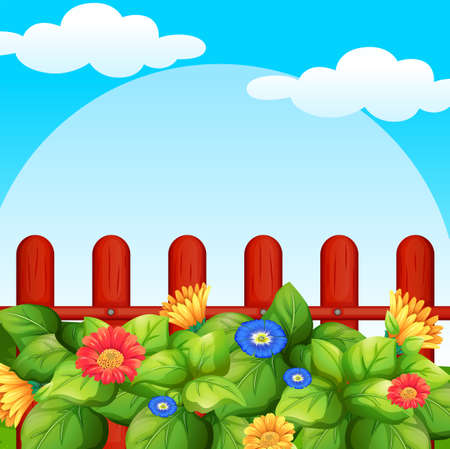 Background scene with flowers in garden illustration. Illustration
