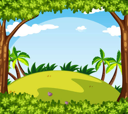 Background scene with trees on the hill illustration.