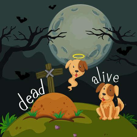 Opposite words for dead and alive illustration. Illustration