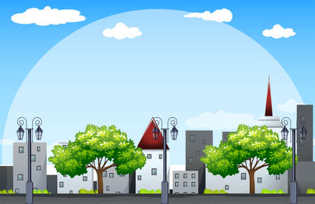 Scene with buildings along the street illustration