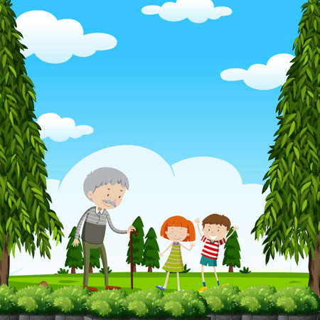 Grandfather and kids in the park illustration.