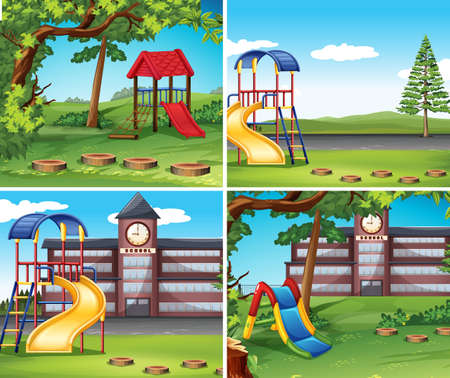 Four scenes with playground illustration.