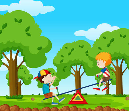 Two boys playing seesaw in the park illustration. Illustration