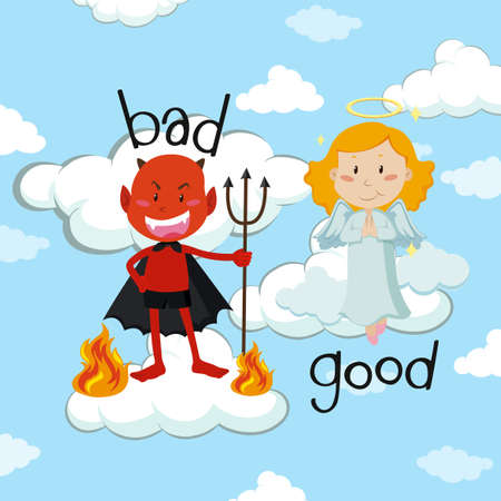 Opposite word for bad and good with angel and devil illustration.